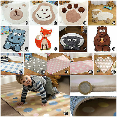 Small Modern Kid Child Nursery Soft Non Shed Latex Back Washable Fun Rugs Mats