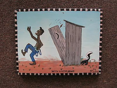 (Willy & The Skunk) Folk Art Painting On Wood Pandel Signed & Dated