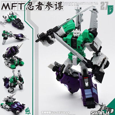plastic robot figure MF-27G sixshot G1 green color  toy about 14cm tall no box