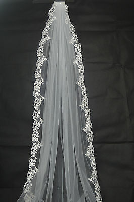New 1-layer White/Ivory Cathedral Lace Edge Bridal Veils Wedding Veil With Comb
