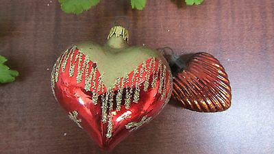 2 Vintage Red & Gold Glass Heart Christmas Ornaments