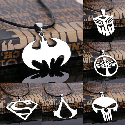 Jewelry Gift Men Boy Unisex Pendant Necklace Stainless Steel Choker Leather Cord