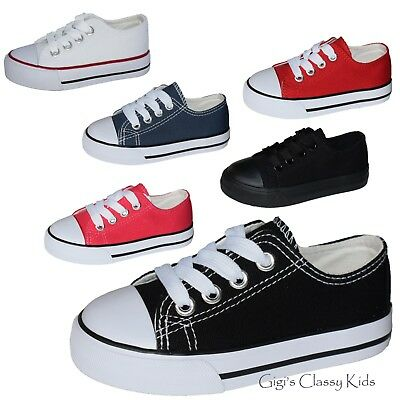New Boys Girls Baby Toddler Low Top Canvas Tennis Shoes Kids Skater Sneakers