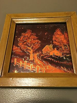 Vintage Wood Framed Handpainted Ceramic Tile Country Night Scene Signed A Meck