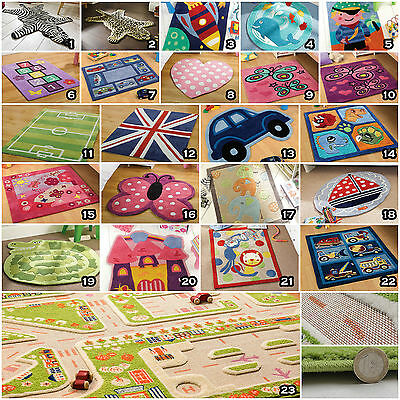 Small Large Modern Thick Soft Wool Polyester Kids Children Play Non Shed Rug Mat