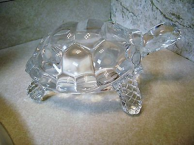 Heavy Clear Glass/crystal Turtle Tortoise Figurine/paper Weight