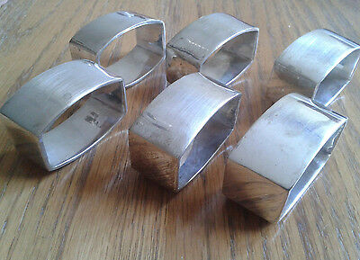Vintage Set of 6 unusual oblong Silverplate elegant Napkin Rings Silver 2x1.2x1""