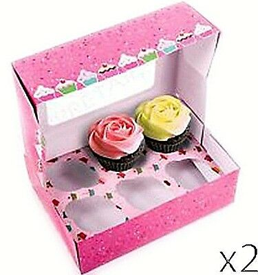 2 x DEEP CUPCAKE BOXES + INSERTS HOLDERS Cake Fairy Muffin Tray 6 HOLE New