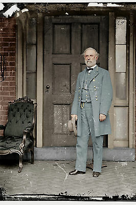 Large 12x18 Robert E Lee US Civil War Photo Painting Real Canvas Art Print