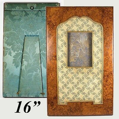 "Superb 16"" Tall Antique French Burl Wood and Needlepoint Photo Frame, Easel Back"