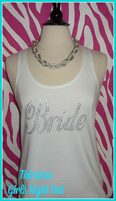 NEW sale READY TO SHIP size LARGE rhinestone bride tank top bridal bling bride