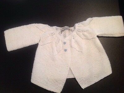 Vintage Hand KNIT Crochet  White BABY SWEATER Easter Christening blue buttons