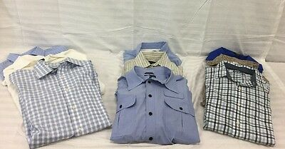 Lot Of 9 Men's Dress Shirts, VanHeusen,Nautica,Lands End,Brooks Brothers, Sz L