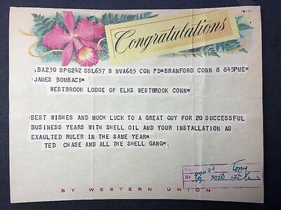 WESTERN UNION TELEGRAM 1958 SHELL OIL Document ELKS Congratulations MESSAGE GAS