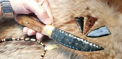 Red Buttes Obsidian Flint Knapped Primitive Skinning Knife Shaman Deer Blue Clan