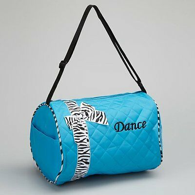 Girls Kids Dance Duffle Bags - Quilted Zebra Pattern Ribbon & Bow (Blue)