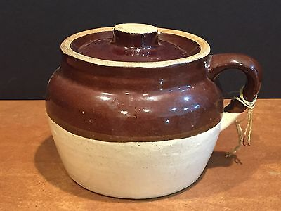 Antique Vintage Stoneware Bean Pot Crock with Lid and Handle
