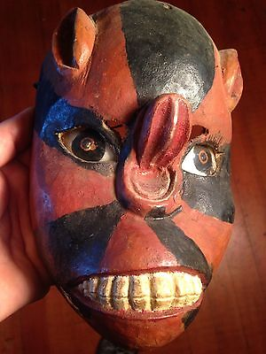 Antique Michoacán Carved Wood Bat Dance Mask Patina Catalog #'s
