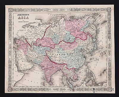 1863 Asia China Tibet Map Hindoostan Siam Hand-Colored Johnson Original RARE