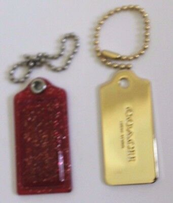 Coach purse gold tone charm with chain & clear red with gold speckles plastic