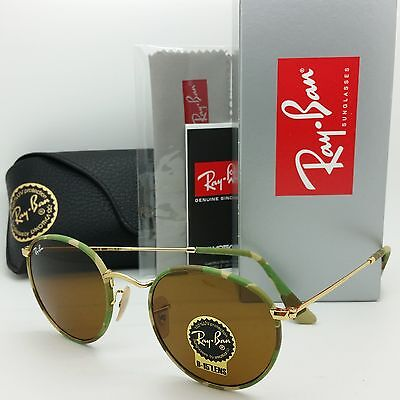 AUTHENTIC NEW Rayban Round Sunglasses RB3447 JM 169 50 Gold Green Camo Lennon