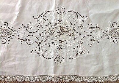 Antique Burano Lace Linen Bed Sheet Embroidered Scrolls & Cutwork Cherubs