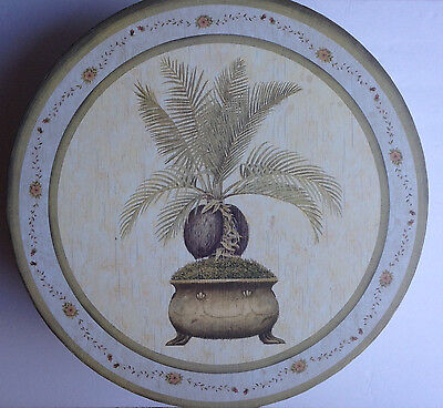 "Vintage Cardboard Hat Box Decorative Palm Plant 16"" X 7"" With Cord Handle New"