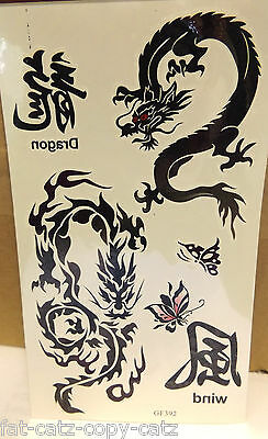 1 x SHEET BOYS MENS TEMPORARY TATTOOS BLACK ANGRY CHINESE DRAGONS SYMBOL WORDS