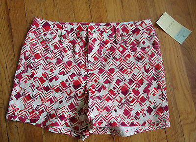 Women's Pink Print Denim Shorts - Sonoma - Size 8 - New With Tags