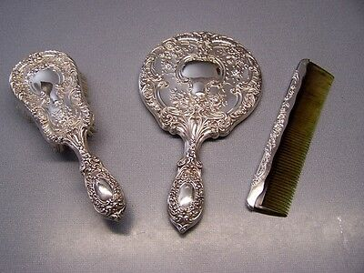 Very Nice Antique GORHAM STERLING 23 Victorian Mirror/Brush/Comb Set