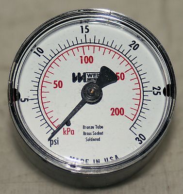"30 Psi  1 1/2"" In Dial 1/8 Npt Pressure Gauge   Weiss  New"