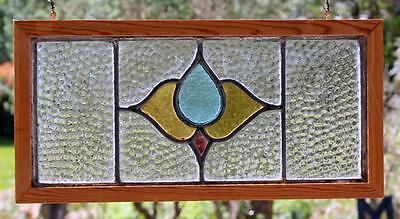 """Vintage OLD ENGLISH Leaded STAINED GLASS Window 19"""" x 9"""" Re-Framed"""