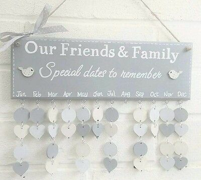 Family Birthday board calendar reminder friends plaque special dates handmade