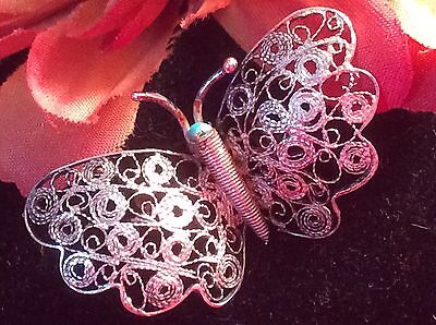 Estate Jewelry Deco Sterling Silver FILIGREE Butterfy Pin Brooch BEAUTIFUL!!