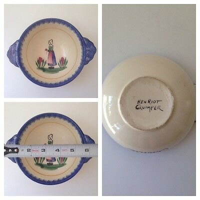 Vintage Personalized Ginnie Henriot Faience Quimper Lug Bowl Hand Painted Woman