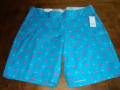 NWT, Crown and Ivy women's size 10 blue and pink Flamingo print shorts