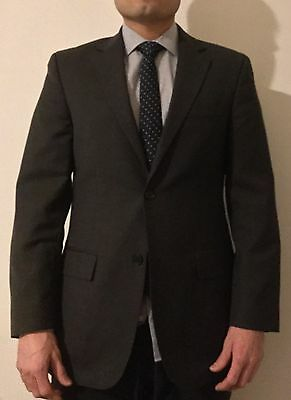 Suit 38R /34W Alfani Classic Fit Charcoal Gray Two Button Wool Blend