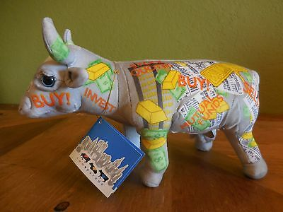 2000 Cow Parade New York City Wall Street Fabric Plush Art Deco Cow with Tag