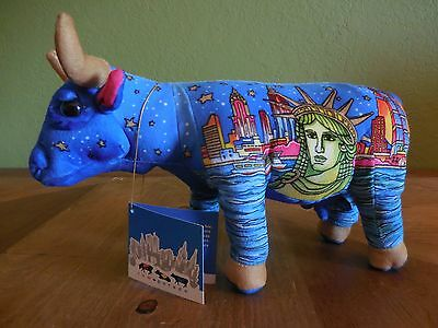 2000 Cow Parade New York C Skyline Statue of Liberty Art Deco Plush Cow with Tag