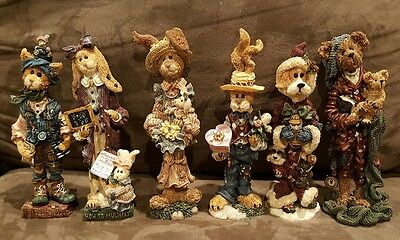 Boyds Bear Folkstone collection Lot of 6 Bunny's Bears Cats! No Box