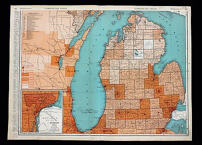 1935 Michigan Map Large Double Page Counties Townships Railroads ORIGINAL