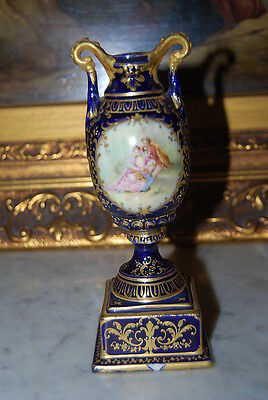 Superb Royal Vienna Romantic Scene Vase Urn Cobalt Blue And Gold With Beading