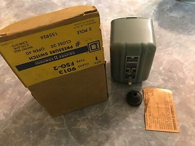 lot of 2 Square D Pressure Switch 9013 FSG-2 ON 20 psi OFF 40 PSI, 2 pole 1/4-