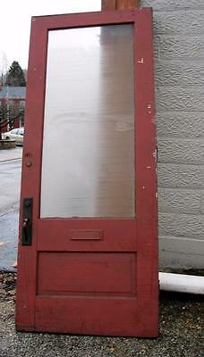 1 Antique Arts & Crafts Oak Door from 1890 w Hardware & Glass