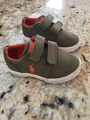 Ralph Lauren Boys Shoes Size 7 Green And Orange Canvas