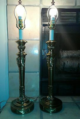 """2  BEAUTUFUL Vintage ART DECO Swans Lions Paws Ornate Brass Table Lamp Pair 33"""""""