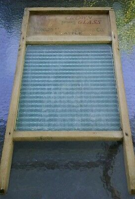 """Vintage Antique Wooden Washboard """"CROWN GLASS HOWARD MANUFACTURING Co. SEATTLE"""""""