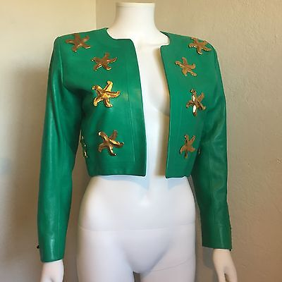 Rare Vtg Yves Saint Laurent Rive Gauche 80s Green Leather Gold Star Jacket 36