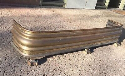 VTG Antique Brass Fireplace Hearth Fender Guard Surround