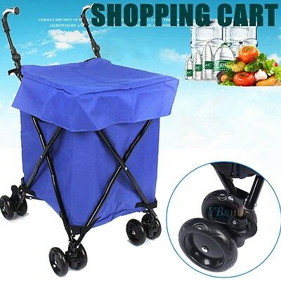 Shopping Cart Carts Trolley Bag Foldable Bags Luggage Wheels Folding Basket Blue